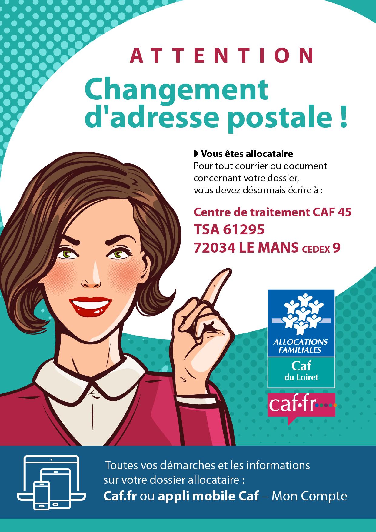 Changement adresse CAF45